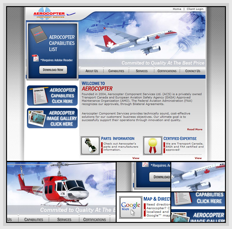 Aerocopter (2006) - Web & Graphic Design, HTML, CSS, JavaScript