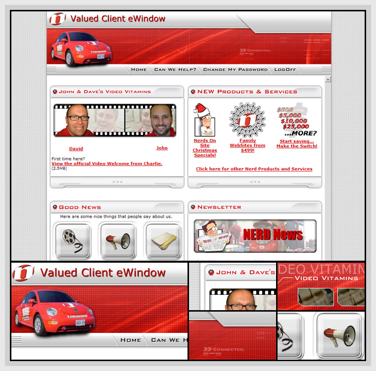 Nerds On Site eWindow (2004) - Web & Graphic Design, HTML, CSS, Flash, Actionscript, JavaScript