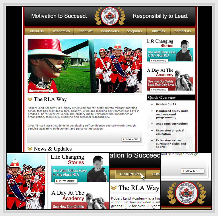 Robert Land Academy (2005) - Web & Graphic Design, HTML, CSS, JavaScript